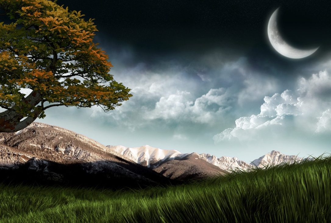 Mountain Moon Evening Nature Beautiful Sky Background With Sun